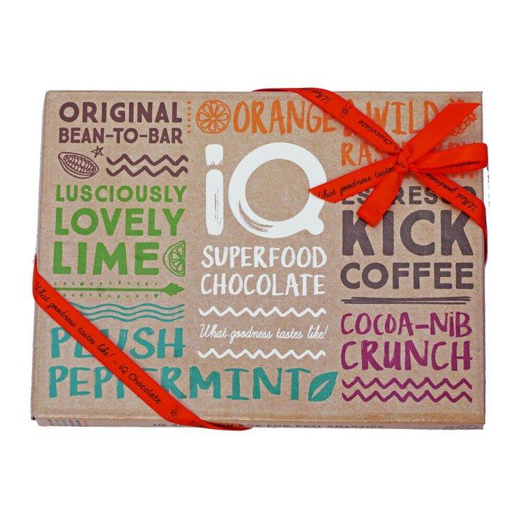 6 Organic Superfood Chocolate Bar Selection Box Inc. Espresso, Lime & Peppermint Bars