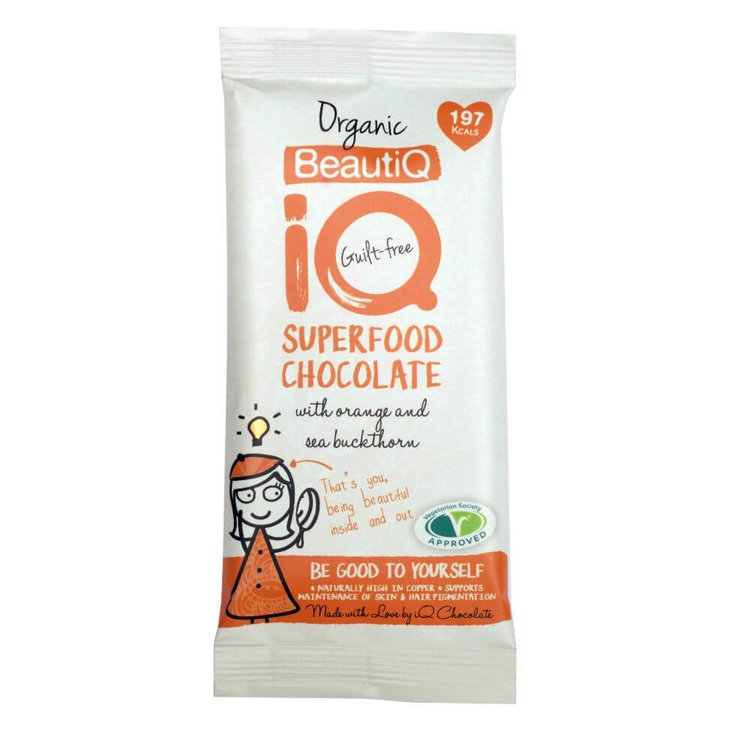 3 x BeautiQ Superfood Chocolate Bar with Orange & Seabuckthorn Berries 35g (Organic, Vegan)