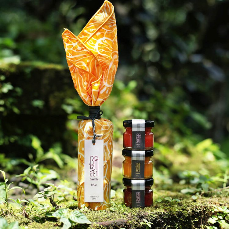 Yellow 'Bali Aurora' Tropical Jam Gift Set with Handprinted Batik Napkin