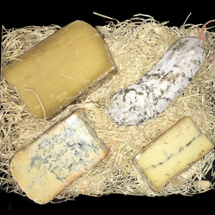 French Cheese & Saucisson Charcuterie Gift Set with Comté, Morbier & Blue Cheeses