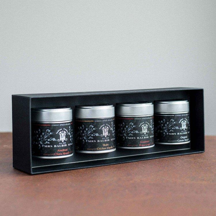 4 Gourmet Indian Curry Spice Blend Gift Box Inc. Rogan Josh & Garam Masala Blends