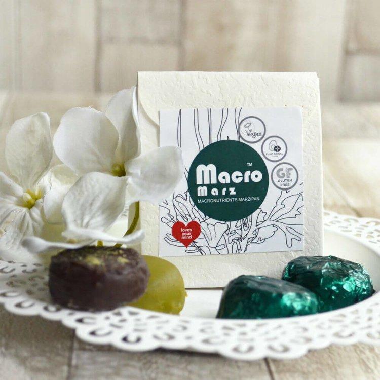 2 Packs 'Macro Marz' Macronutrients Marzipan with Dark Chocolate, Plant Protein, Spirulina, & Seeds