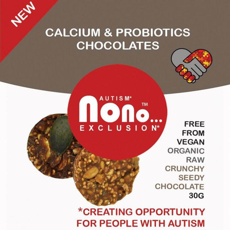 3 x 'Nono Cocoa' Calcium & Probiotic Crunchy Chocolates 30g Snack Pack