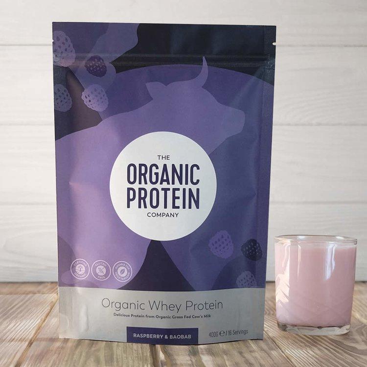 400g Organic Raspberry & Baobab Whey Protein Powder