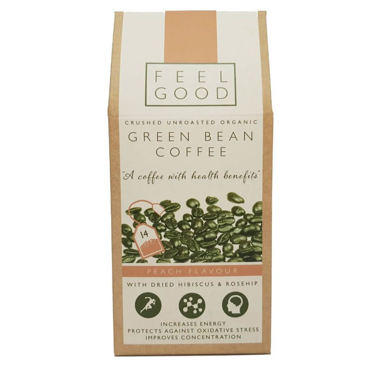 Organic Peach Flavoured Crushed Green Bean Coffee Bags with Hibiscus & Rosehip 35g