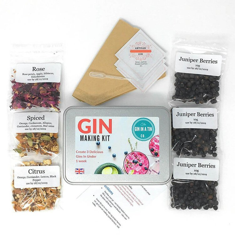 Gin Making Gift Kit with Botanicals - Makes 3 Botanical Gins (Recipes & Instructions Included)