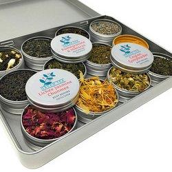 Green Herbal Tea Making Gift Kit with Premium Green Tea & Herbal Ingredients (Recipes Included)