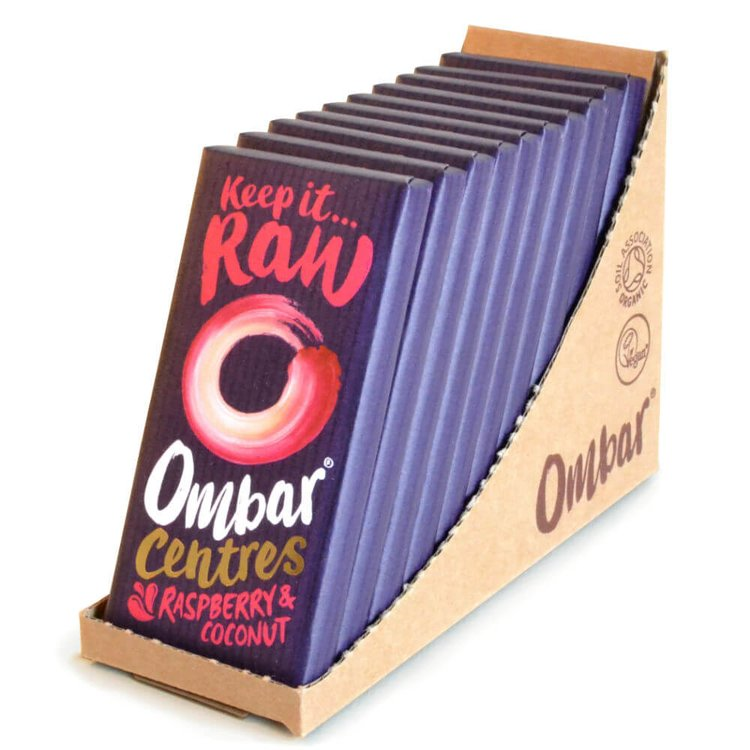 10 x Raspberry & Coconut 'Ombar Centres' Filled Chocolate Bar 35g