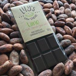 Handmade Lime & Pink Himalayan Salt Raw Chocolate Bar with 76% Peruvian Cacao 50g