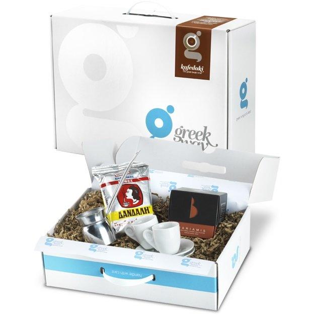 'Kafedaki' Greek Coffee Gift Set with Cups & 'Briki' Coffee Pot