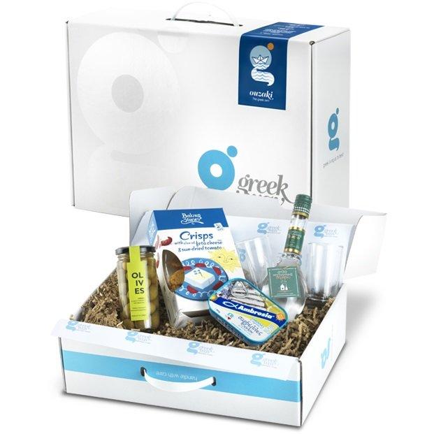 Ouzo & Greek Snacks Gift Set with Olives & Ouzo Glasses