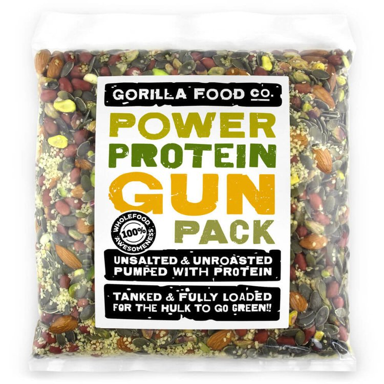 Raw 'Power Protein Gun Pack' Mixed Nut & Seed Pack Inc. Almonds, Pistachios & Peanuts 800g