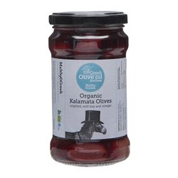 Organic Kalamata Demeter Olives with Bay Leaves & Vinegar 240g (Unpitted)