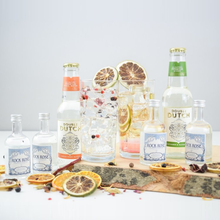 Scottish Rock Rose Gin & Tonic Gift Set Inc. 4 Premium Gins & Double Dutch Tonic