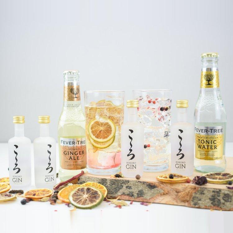Kokoro Japanese Gin & Tonic Gift Set with Fever-Tree Tonic & Ginger Ale