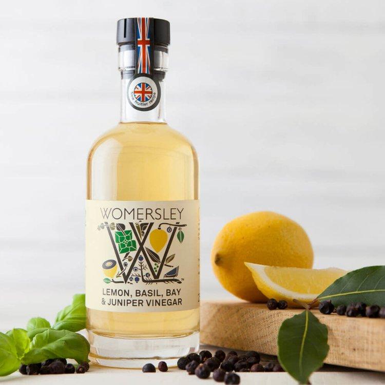 Lemon, Basil, Bay & Juniper Vinegar 250ml (For Salads, Sauces & Fruits)
