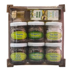 Olive Oil & Spice Gift Set in Wooden Box (For Meat, Cheese & Salads)