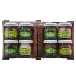 8 Greek Spice Gift Set in Wooden Box (For Meat, Cheese & Salads)