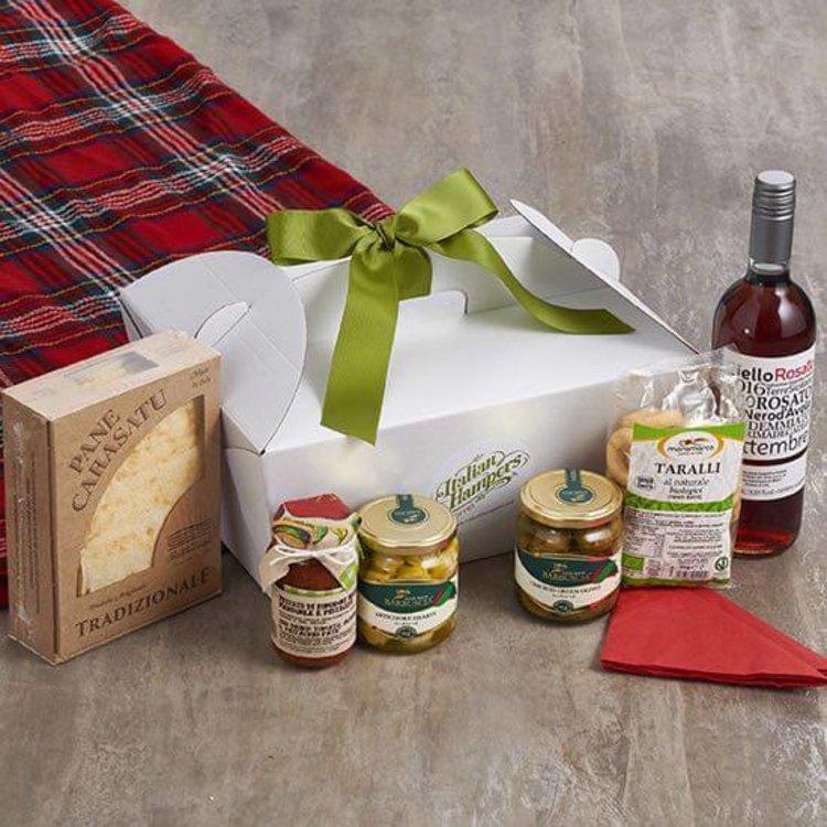 Italian Vegan Picnic Hamper Inc. Antipasti, Organic Rosé Wine, Carasau Bread & Taralli