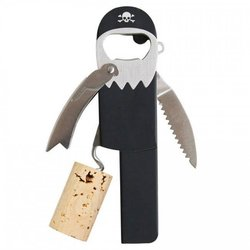 Legless Pirate Waiter's Friend Stainless Steel Corkscrew