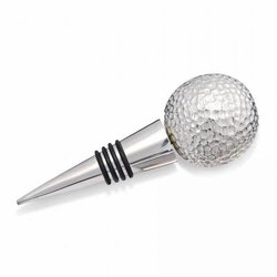 Golf Ball Silver Plated Bottle & Wine Stop
