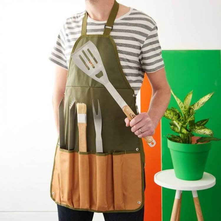 Canvas Barbecue Tool Kit & Apron Gift Set