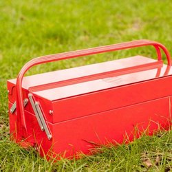 Foldable & Portable Barbecue with Storage & Warming Tray in 'Toolbox' Look