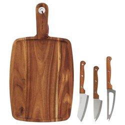 Acacia Wooden Cheese Board & Cheese Knives Set