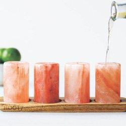 4 Himalayan Pink Salt Shot Glasses & Wooden Serving Board Gift Set