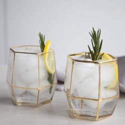 Set of 2 Gold Geo Glasses - Hand-Blown Glass with Metallic Style Edges