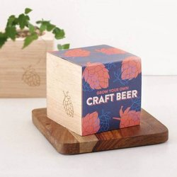 Grow Your Own Craft Beer Gift Kit with Ecocube Planter, Fertiliser, Seeds & Instructions
