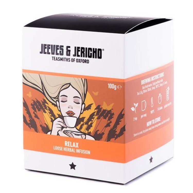 'Relax' Loose Herbal Tea Infusion Blend Inc. Chamomile, Cinnamon & Ginger 100g