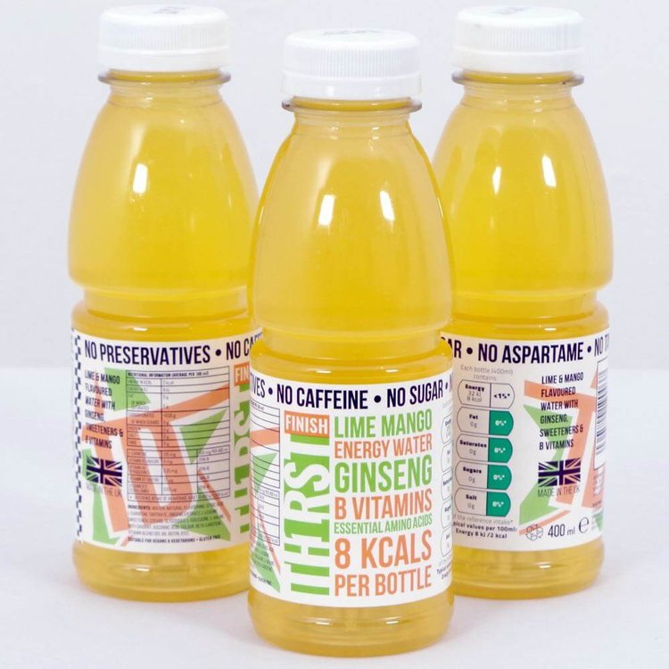 2 x Caffeine-Free Energy Water With Lime, Mango & Ginseng 400ml