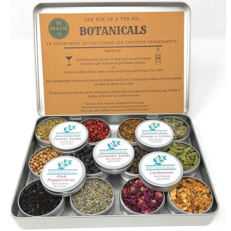 12 Tins of Botanicals & Spices for Gin - Gin Infusion Gift Set for Flavouring & Making Gin