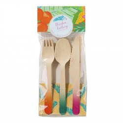 Wooden Cutlery Set - Colourful Dip Dyed Cutlery For Parties & Picnics (18 Pieces)