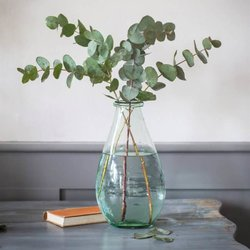 Extra Large Recycled Glass Flower Vase - Teardrop Shaped