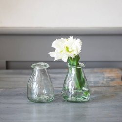 Pair of Recycled Glass Bud Flower Vases