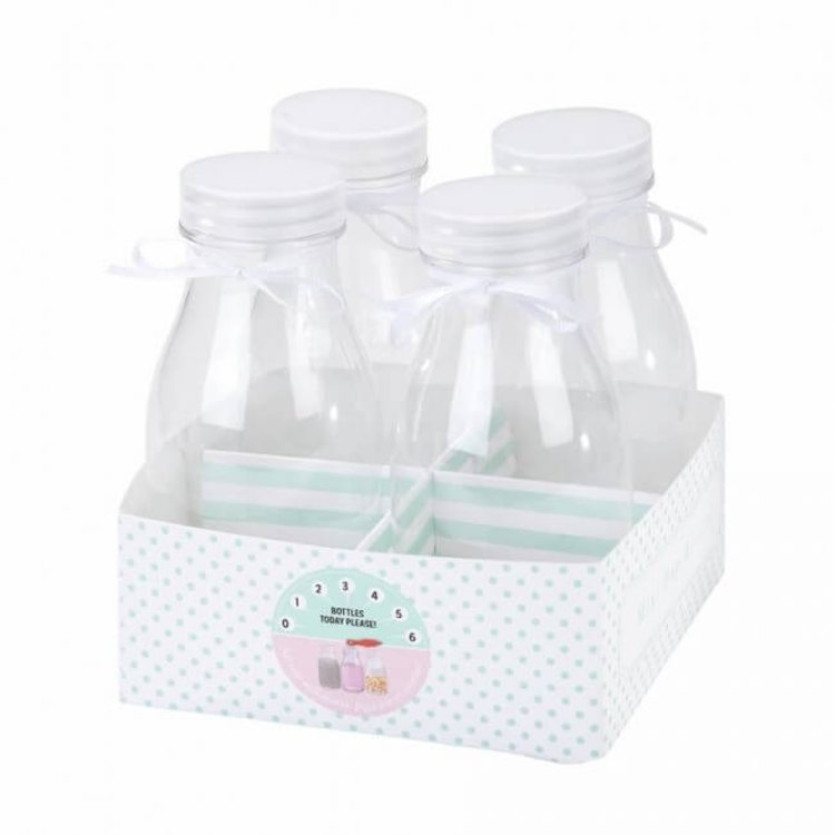 Set of 4 Mini Milk Drink Bottle Set with Lids & White Ribbons (For Parties, Decor & Wedding Favours)