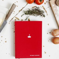 'My Family' Cook Book with Recipe Note Pages & Cooking Times (Red)