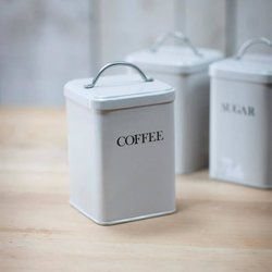 Coffee Canister - Off White Retro Style with Chrome Handle