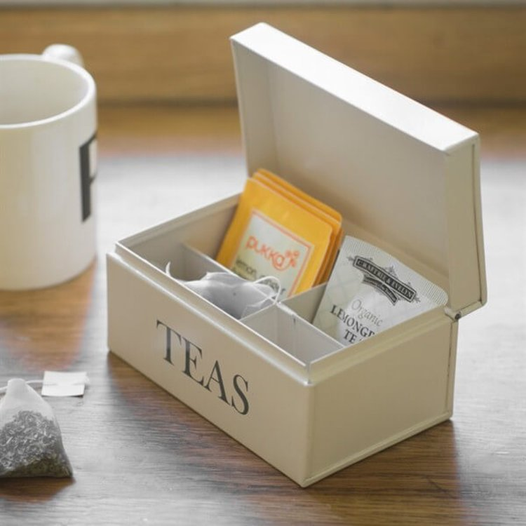 Tea Time Tea Bag Storage Caddy Organiser with Compartments - Stone Colour