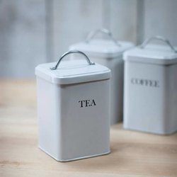 Tea Canister - Off White Retro Style with Chrome Handle
