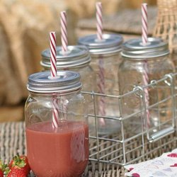 Set of Four Jam Jar Drink Glasses With Lids & Wire Rack