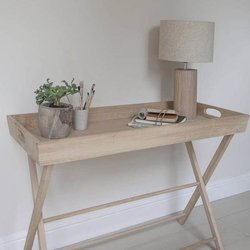 Large Oak Butler's Serving Tray & Table - Foldable Stand with Removable Tray
