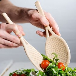Tennis Racket Wooden Salad Serving Spoons