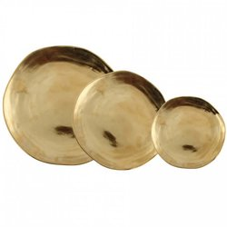 Set of 3 Gold Imperfect Roman Porcelain Plates (Contains Small, Medium & Large)