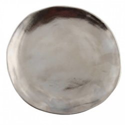 Medium Silver Imperfect Roman Porcelain Plate