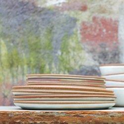Handmade Terracotta Dinner Plate With White Glaze