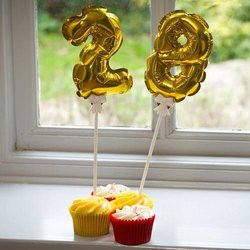 Mini Gold Balloon Number Cake Toppers (Pack of Numbers 0-9 With Sticks)
