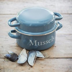 Enamel Mussel & Shellfish Cooking Pot - Light Blue